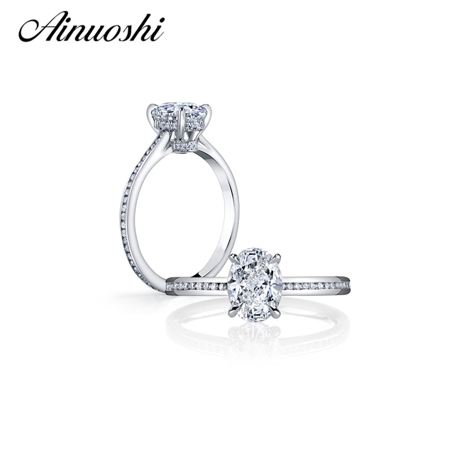 AINOUSHI Luxury 2 Carat Big Oval Cut SONA Ring with Solid 925 Sterling Silver Ring for Women Wedding Engagement