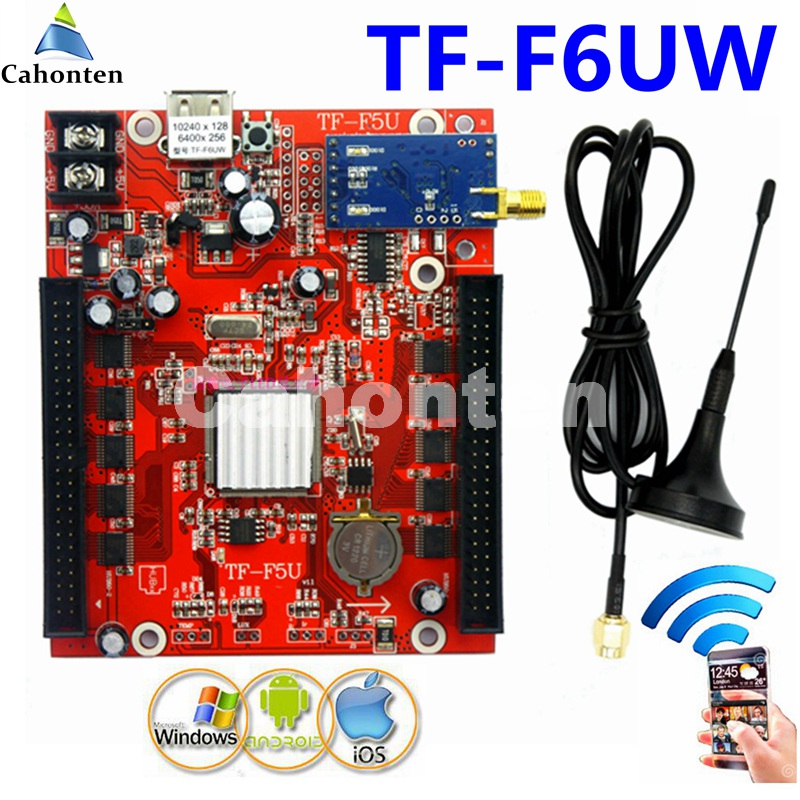 TF-F6UW WIFI+USB led screen control card 1536*32,768*64 dots single,dual,full color Wireless controller  led board bx 6q3 usb and ethernet port lintel full color led control card asynchronous video led sign controller 384 1024 512 768pixels