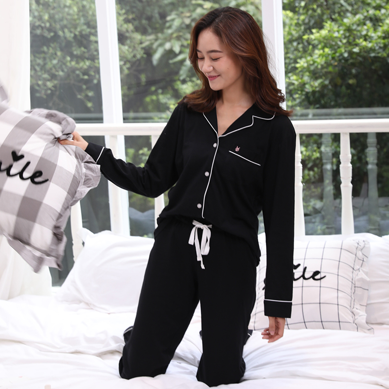 Hot sale autumn Solid Color 100% cotton women   pajamas     sets   sexy black Long sleeve women pijamas quality Simple sleepwear women