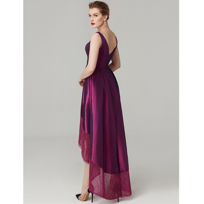 TS Couture A-Line V Neck Asymmetrical Lace / Taffeta Cocktail Party / Graduation/ Prom Dress