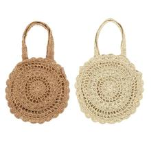 Large Flower Paper String Woven Straw Storage Bag Handmade Casual Bohemian Circle Beach For Women Shoulder Bags Handbags