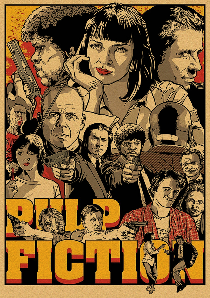 HTB1Lr hbo rK1Rjy0Fcq6zEvVXaN Quentin Tarantino Movie Poster Collection, Vintage Kraft Poster, Decorative Poster, Home Decor, Movie Wall Sticker, Poster Movie