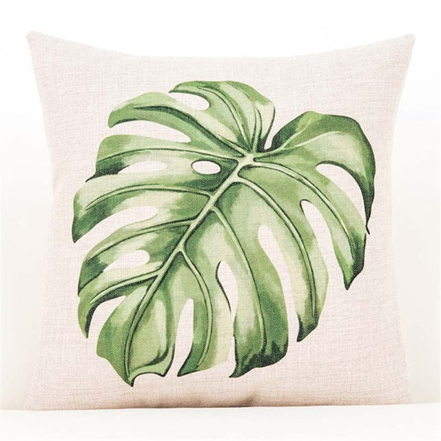 Green Leaf Cushion Cover Botanical Tropical Palm Tree Leave Geomtric Beige Pillow Cover Bedroom Sofa Home Decor Throw Pillowcase