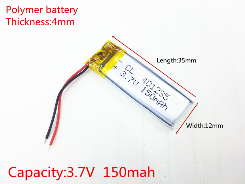 Discreet 3.7v,150mah, Li-ion Battery For Toy,power Bank,gps,mp3,mp4,cell Phone,speaker 401235 Polymer Lithium Ion