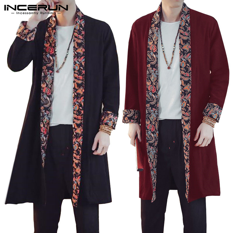 INCERUN 2019   Trench   Coat Men Cotton Long Sleeve Floral Patchwork Outwear Chinese Style Casual Windbreaker Men Cloak Cardigan 5XL