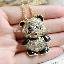2015 Hot! Fashion Panda With Rhinestone Necklace Panda Sweater Chain national  Animals gifts Big promotion  P40