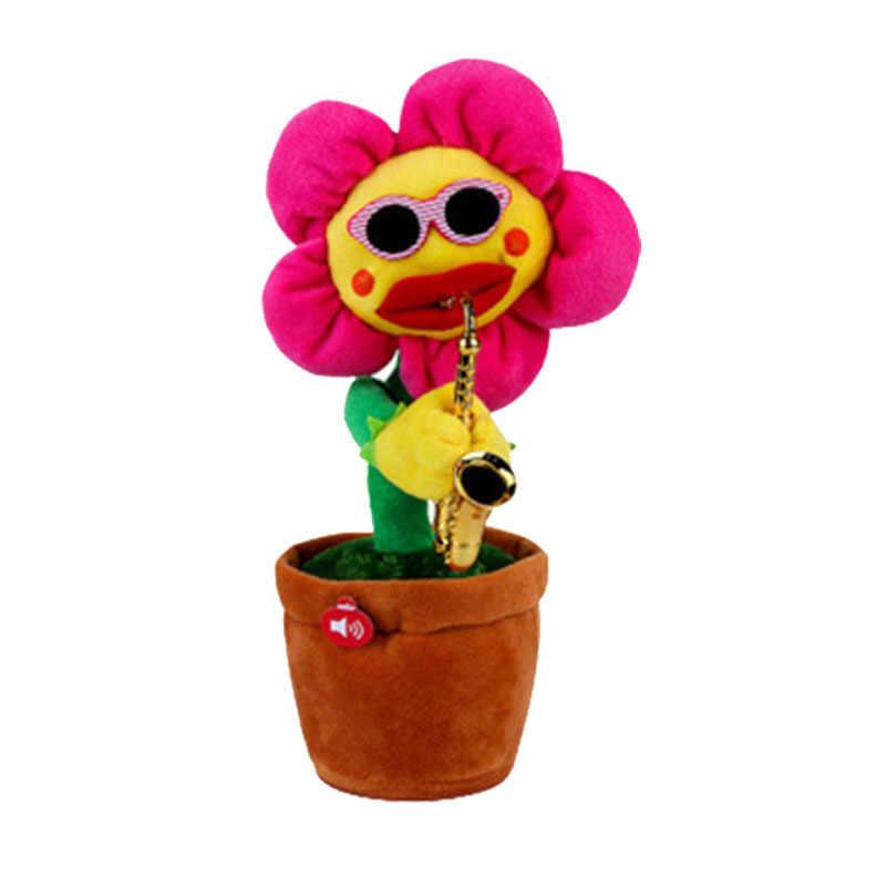 80 노래 6 색 울리는 해바라기 플러시 장난감 부드러운 소녀 선물 소리 전자 꽃 춤 봉제 인형 살아있는 노래 인형