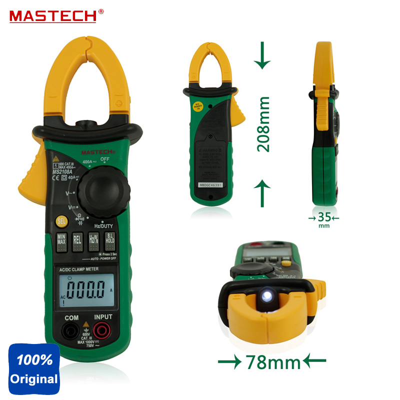 Mastech MS2108 Digital Clamp Meter True-rms Inrush Current 66mF Capacitance Frequency Measurement Carrying Bag 1 pcs mastech ms8269 digital auto ranging multimeter dmm test capacitance frequency worldwide store