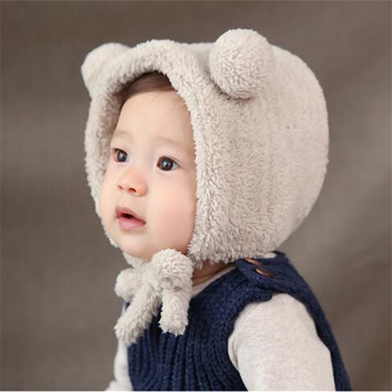 Boys' Baby Clothing Cute Baby Girls Boys Winter Warm Hat Thick Bear Ear Plush Beanie Bonnet With Ear Warmer Fashion Hats Cold-proof Lace Cap T2129 Always Buy Good Accessories