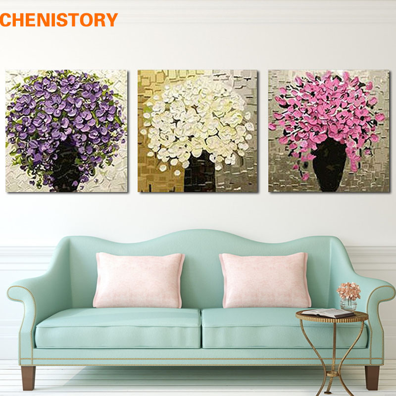 Unframed 3 Panel Purple Flower Handpainted With Thick Paint Palette Knife Oil Painting Art Picture For Modern Home Decor Artwork