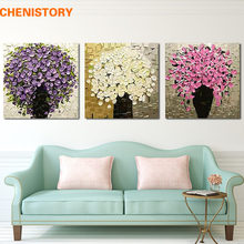 Unframed 3 Panel Purple Flower Handpainted With Thick Paint Palette Knife Oil Painting Art Picture For Modern Home Decor Artwork(China)