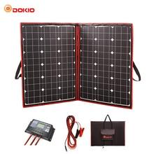 Dokio 100 W 110 W (55 Вт х 2 шт) 18 V Гибкая черные солнечные панели Китай складной + 12 V контроллер 110 Вт солнечные панели для автомобиля Батарея