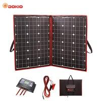 Dokio 110 Вт 100 Вт (55 Вт x 2 шт.) 18 в гибкие черные солнечные панели Китай складной + 12/24 В вольт контроллер 110 Вт панели солнечные