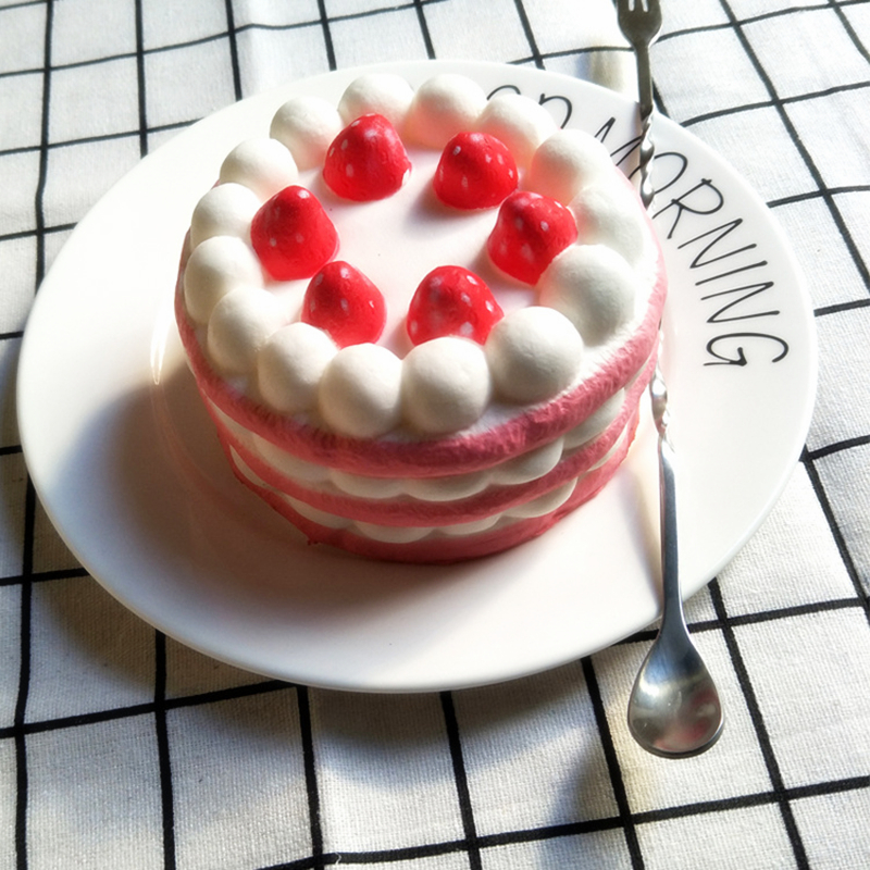 Funny Creative Squishy Simulation Strawberry Cake Slow Rising Relieves Stress Toys Gift  ...