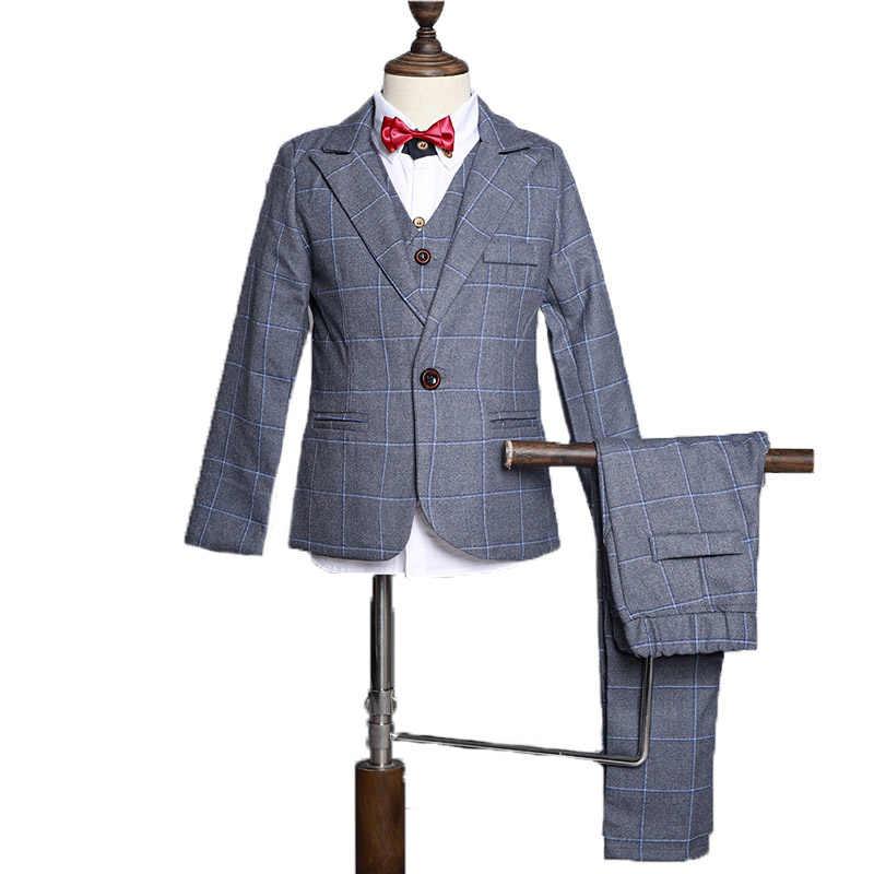 Цветок для маленьких мальчиков деловой костюм с пиджаком для детей Брюки с жилеткой комплект из 3 предметов, смокинг на свадьбу; Костюмы набор детей Выпускной костюм платье для сцены
