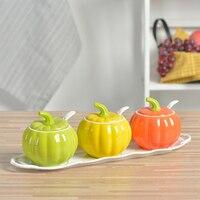 Creative ceramic cruet seasoning jar set home kitchen MSG pumpkin oil salt cans seasoning box WF4091535