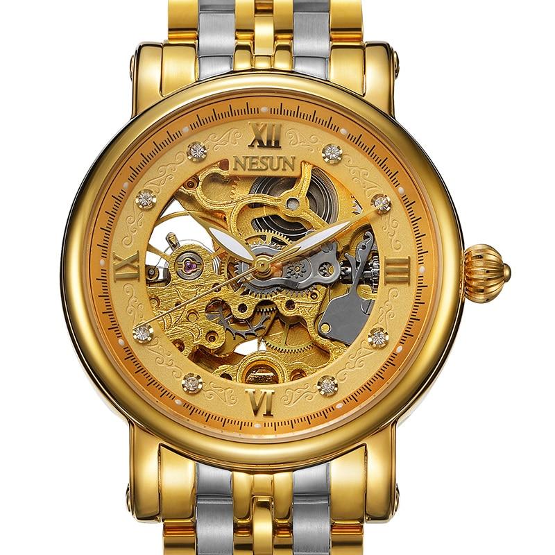 Switzerland Nesun Skeleton Watch Men Luxury Brand Automatic Self-Wind Men's Watches Sapphire Crystal Waterproof clock N9501-2