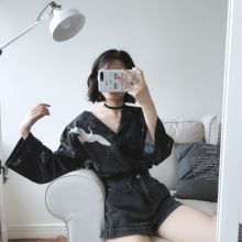 Mihoshop Ulzzang Korean Korea Women Fashion Clothing Summer Harajuku Punk Bird Print Casual Chiffon Black Shirt Blouse