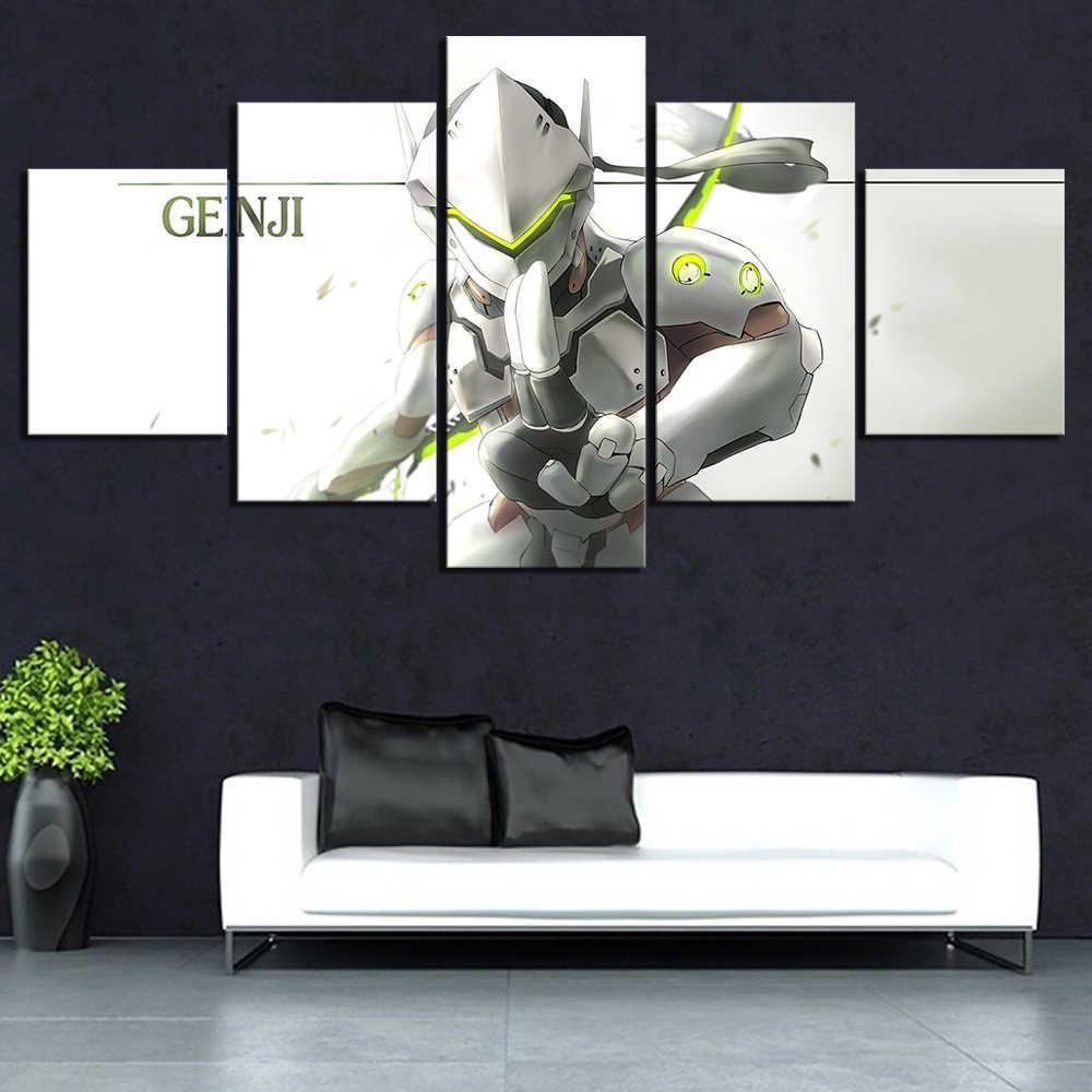 Duvar Sanat Tuval Baskılar Boyama Ev Dekor 5 Paneli Genji OVERWATCH OW Video Oyunları Resimleri Modüler Çerçeve Koridor Odası Poster