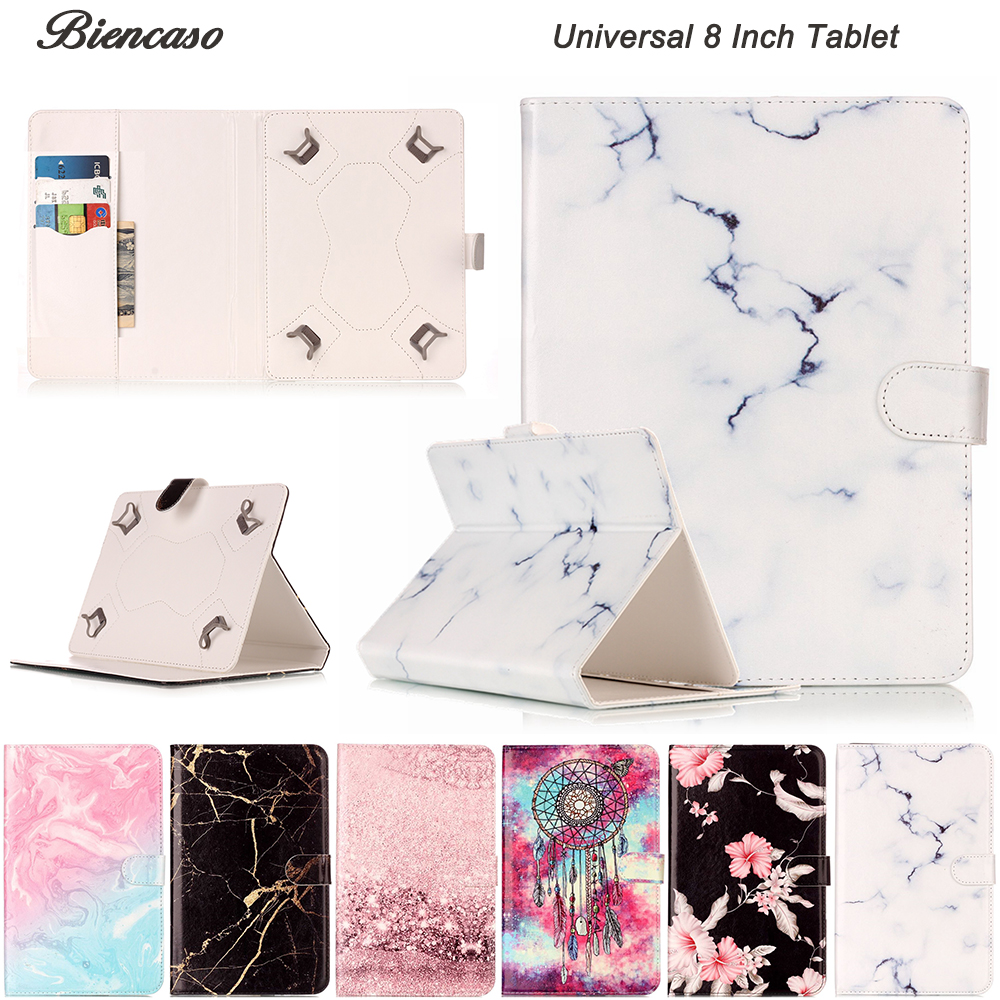 Universal 8 Inch Tablet Cover Marble PU Leather Magnetic Flip Case For Huawei Le
