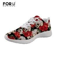 FORUDESIGNS/мужские кроссовки с розами и черепами, дышащая удобная мужская повседневная обувь на шнуровке для взрослых, высокое качество, больши...