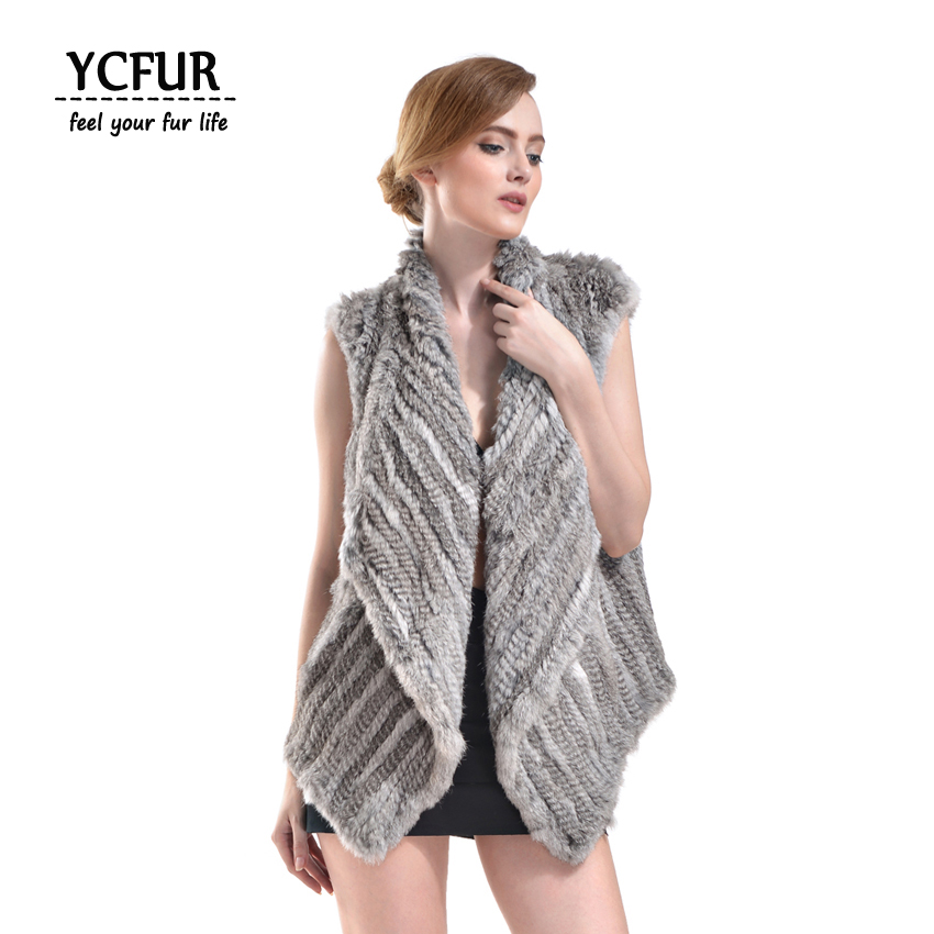 YCFUR Women Winter Waistcoats Vests Knit Real Rabbit Fur Vest With Big Fur Collar Natural Fur