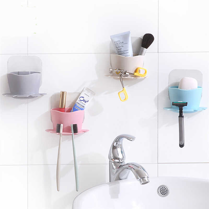 Image 4 - High Quality toothbrush Storage Rack Wall Mounted Cup in Shower Room Hanger Cup Toothpaste Storage Rack Holder Wall Mount Cup-in Storage Shelves & Racks from Home & Garden