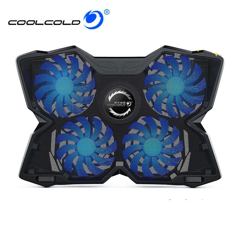 Laptop cooler cooling pad 2 USB Ports and Four cooling Fan laptop cooling pad Notebook Stand for 12-17 inch for macbook air/pro
