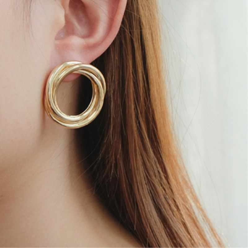EK119 Big Circle Drop Earrings for Women Geometric Round Statement Earring Twisted Metal Earing Fashion Jewelry Trend