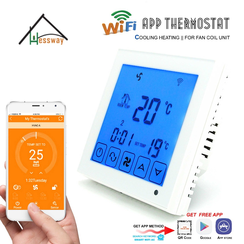 HESSWAY 4p APP WiFi Thermostat Fan Coil Room Temperature controller Heating for Remote Control by Smartphone valve radiator linkage controller weekly programmable room thermostat wifi app for gas boiler underfloor heating