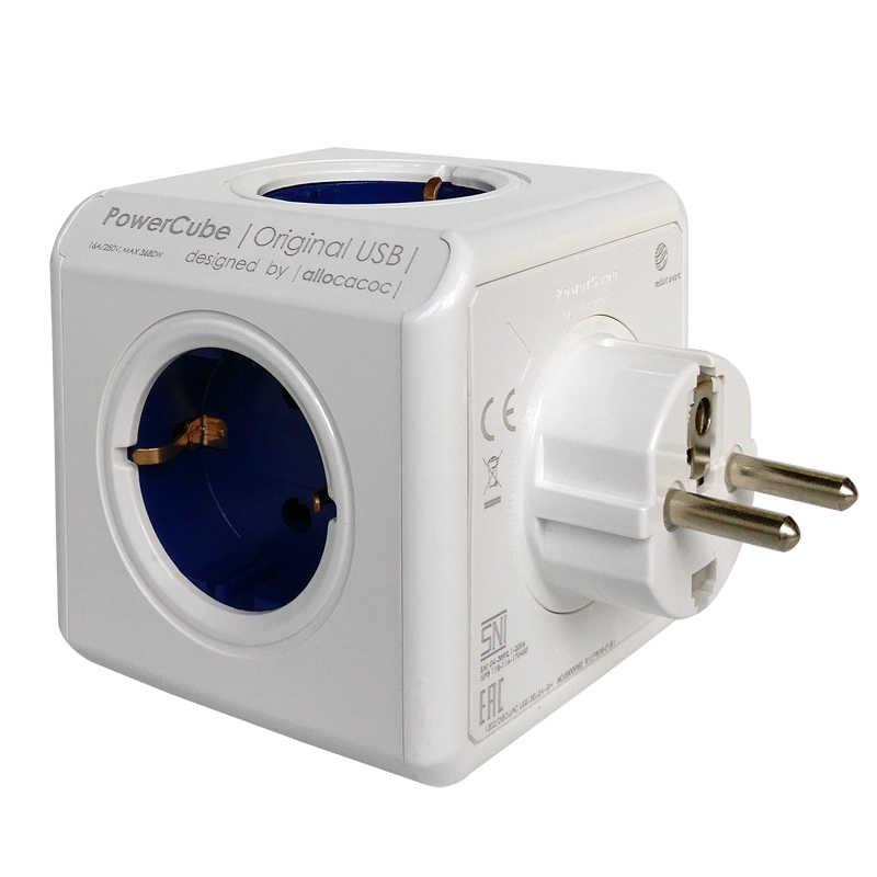 Allocacoc PowerCube ue podłącz 4 gniazda 2 porty USB podróży Adapter zasilania taśmy rozszerzenie inteligentnego domu wielu gniazdo przełączane niebieski