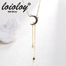 Loioloy Crescent Moon Pendant Necklace For Women 925 Sterling Silver Moon Star Charm Dainty Delicate Women Jewelry цена