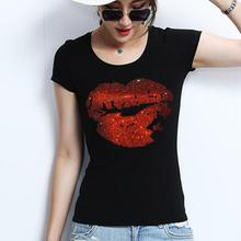 d6dfb8854f87 plus size 4XL 2018 summer women short-sleeved T-shirt drilling red lips  cotton o-neck