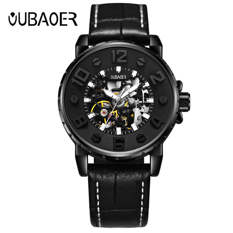 OUBAOER Leather Mechanical Wristwatches Automatic Self-Wind Luminous Hands Watches Relogio Watch Montre Homme Automatique OB2004 fngeen automatic watches waterproof leather rose gold mechanical watch men male clock luminous montre automatique homme relogio