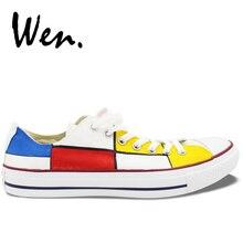 Вэнь унисекс расписанный вручную повседневная обувь по индивидуальному дизайну Mondrian Мужские Женские низкие белые парусиновые туфли на шнуровке плимсоллы кроссовки