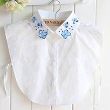 Falsa-camisa con cuentas de Orquídea desmontable para mujer, Cuello de camisa falso, Cuello de camisa falso, Kraag, personalizado