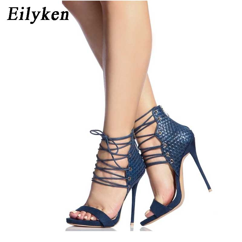440473961af5a Noir Style Gladiateur Chaussures À Eilyken Hauts Lanières 2019 Talons  Aiguilles Blue Sandales Bleu Sexy Femmes ...