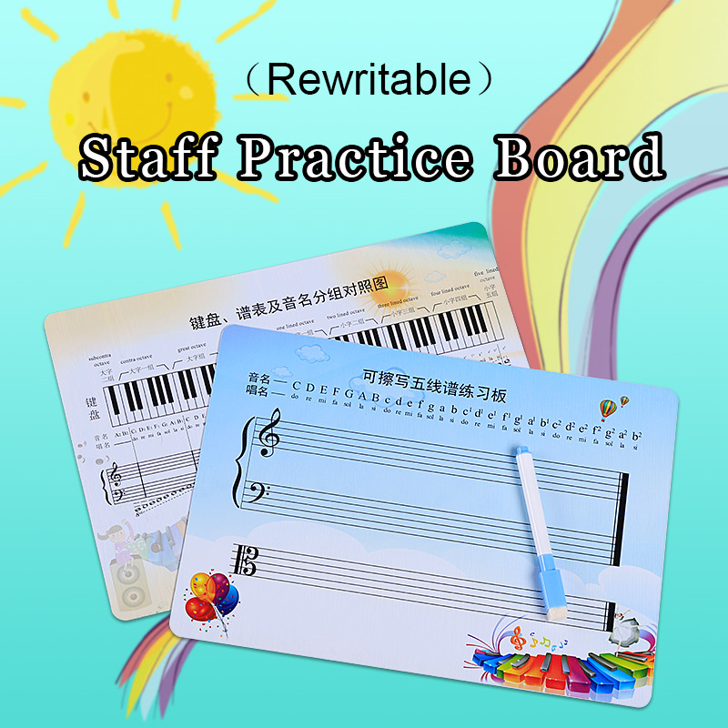 Rewritable Musical Notation Staff Sheet Practice Board Exercise Blank Card For Beginner Learner Student Child Piano Accessories