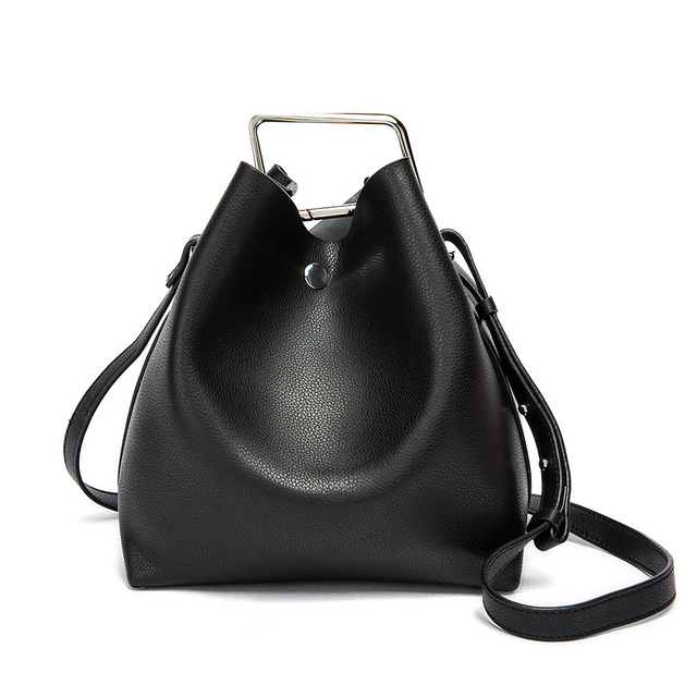 2016 New Women Shoulder Bags Lock Ring Bucket Bag High Quality Leather  Handbag Hot Retail and Wholesale 565f80722b66a
