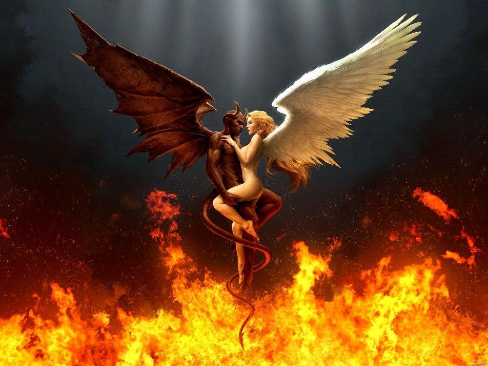Heißer Engel Dämon Sex Feuer Rendering Kunst Großen Druckplakat ...