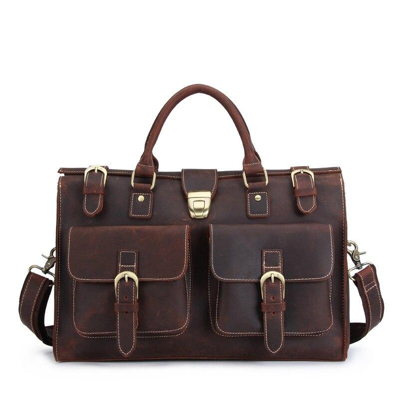 Men's Genuine Cowhide Leather Bag Crossbody Shoulder Sling Handbag Travel Duffle Luggage Bag For Man MS10052 faux fur duffle shoulder bag