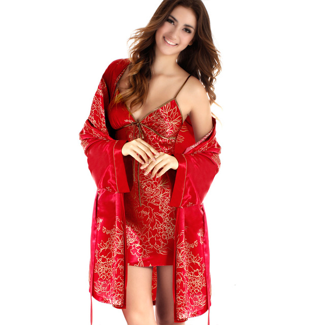 0d8284d7b5 Women s Satin Robe and Nightgown Slip Printed Cardigans Sexy Satin  Sleepwear Womens Autumn Dressing Gown Home Clothing. Price