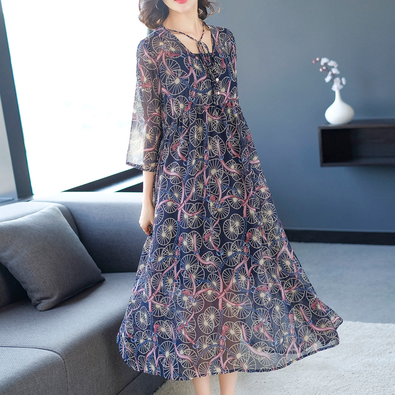 pleated chiffon dress women 2 piece dresses woman party night plus size 2019 summer see through midi vestido print floral blue