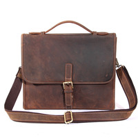 YISHEN Vintage Business Men Briefcase Handmade Crazy Horse Leather Crossbody Bags Top Handle Laptop Case Male