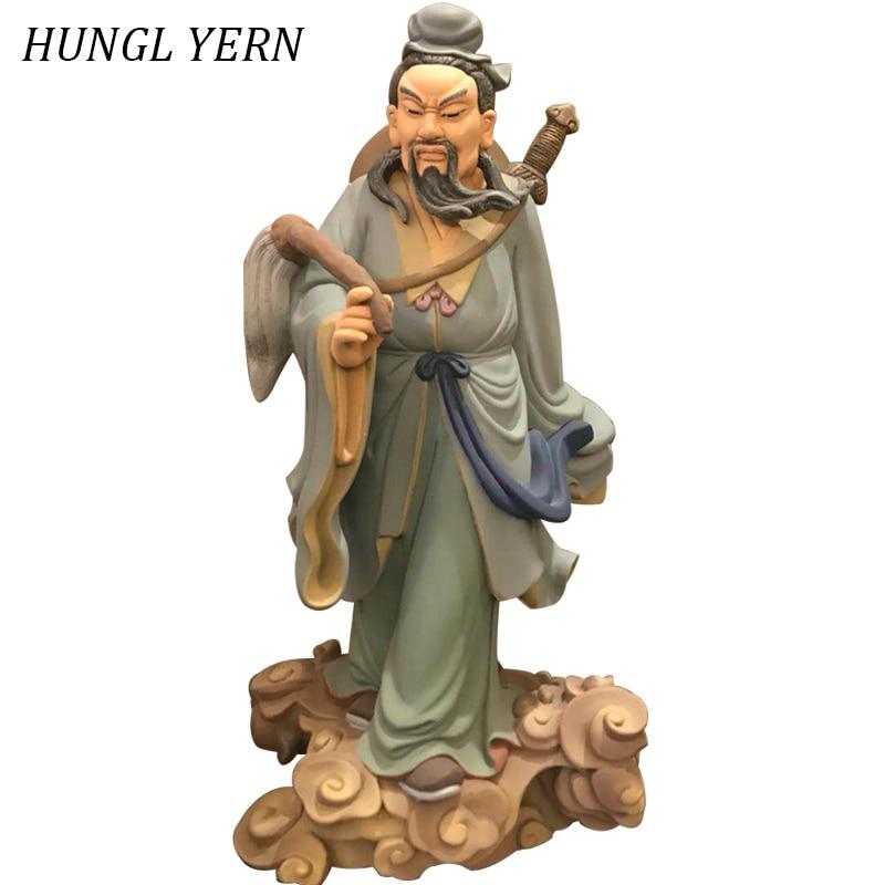 47cm Home decor statue Sculpture carving Handmade Craft decoracion Figurine estatua chinese style Taoist priest statues