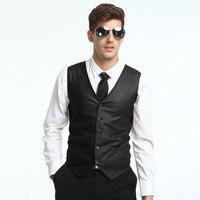 New Arrival Summer Mens Vest Fashion PU Leather V Neck Collar Vests For Men Slim Fit Single Breasted Chaleco Hombre Plus Size