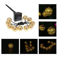 10LED Goud Zilver LED String Verlichting Solar Power Operated Holiday Fairy Light Outdoor voor Kerst Tuin Decoratie