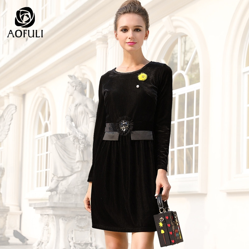 AOFULI L 4XL 5XL Luxury Brand Crystal Applique Velvet Dress Hairball Corsage Long Sleeve Stripe Texture