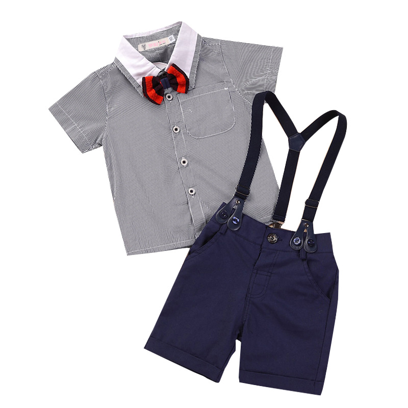 abbfc7aa5c7d Newborn Baby Clothes Children Clothing Baby Boy Grey Striped Shirt Overalls  Fashion Baby Boy Clothes Suspenders Gentleman Suit