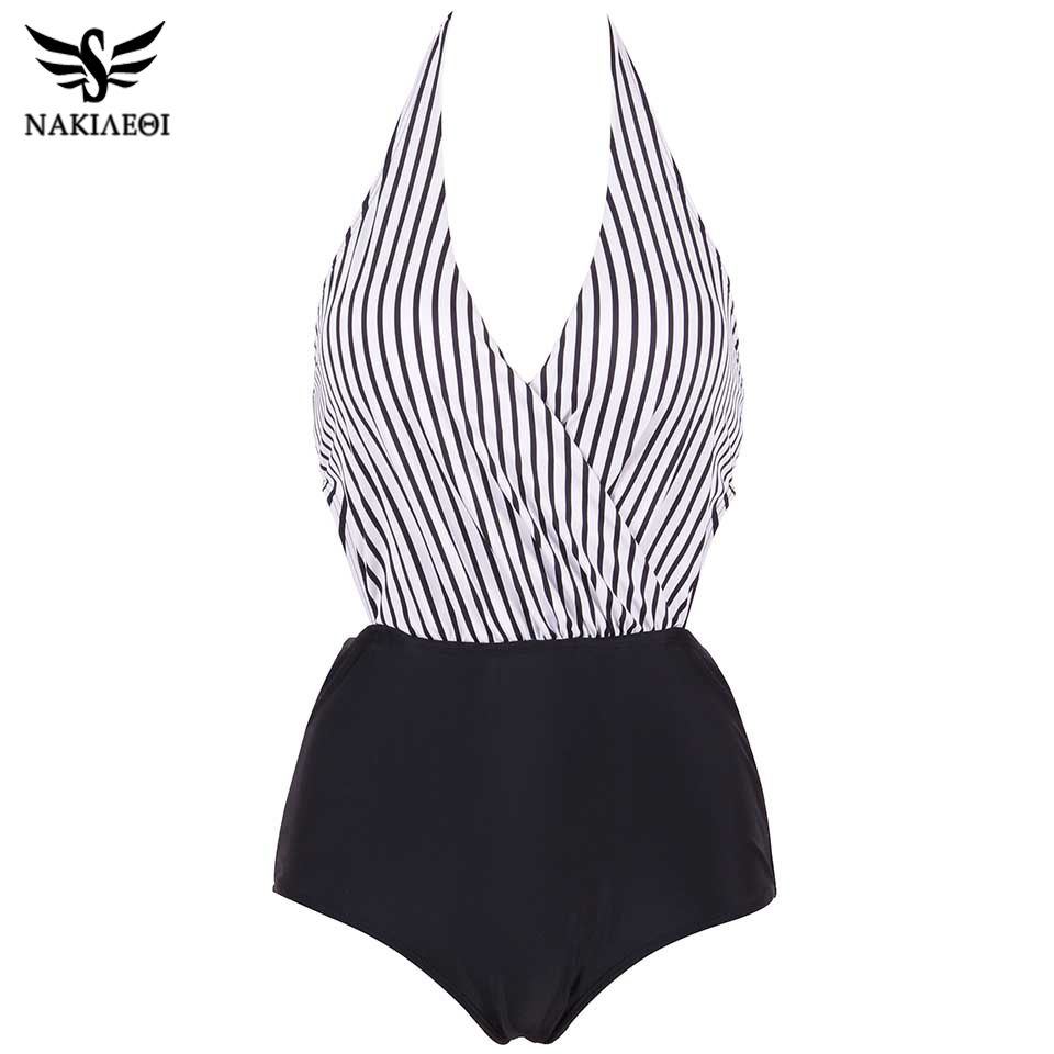NAKIAEOI 2019 New Sexy One Piece Swimsuit Plus Size Women Swimwear Backless Halter Top Swimsuit Patchwork Bathing Suit Swim Wear-in Body Suits from Sports & Entertainment on AliExpress